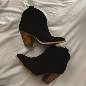 REPORT black suede heeled booties